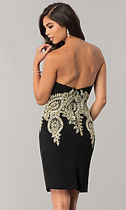 Image of JVNX by Jovani sweetheart homecoming dress in black. Style: JO-JVNX59033 Back Image