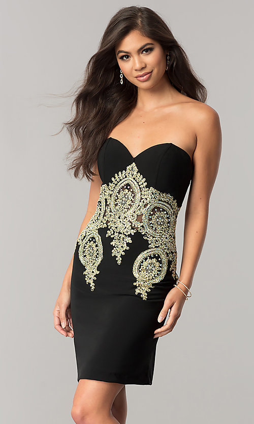 Image of JVNX by Jovani sweetheart homecoming dress in black. Style: JO-JVNX59033 Front Image