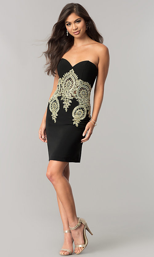 Image of JVNX by Jovani sweetheart homecoming dress in black. Style: JO-JVNX59033 Detail Image 1