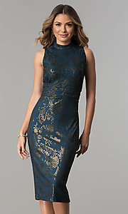 Image of knee-length metallic-print party dress by Sangria. Style: SG-SBSQ1460 Front Image