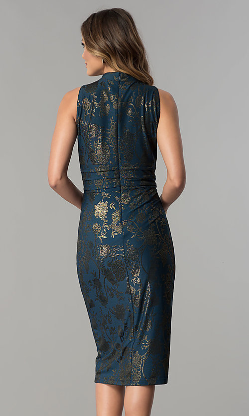 Image of knee-length metallic-print party dress by Sangria. Style: SG-SBSQ1460 Back Image
