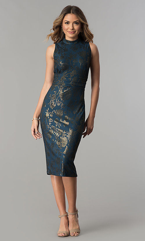 Image of knee-length metallic-print party dress by Sangria. Style: SG-SBSQ1460 Detail Image 2