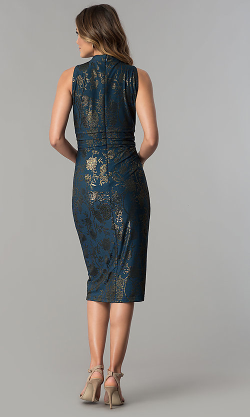 Image of knee-length metallic-print party dress by Sangria. Style: SG-SBSQ1460 Detail Image 3