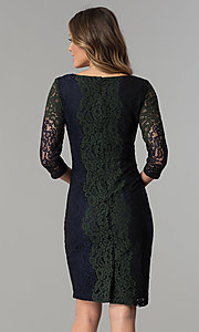 Image of knee-length lace party dress with 3/4 sheer sleeves. Style: SG-SBPT1351 Back Image