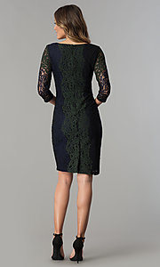 Image of knee-length lace party dress with 3/4 sheer sleeves. Style: SG-SBPT1351 Detail Image 3