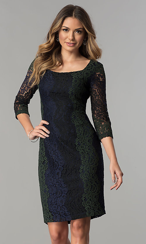 Image of knee-length lace party dress with 3/4 sheer sleeves. Style: SG-SBPT1351 Front Image