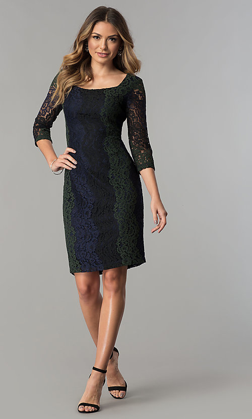 Image of knee-length lace party dress with 3/4 sheer sleeves. Style: SG-SBPT1351 Detail Image 2