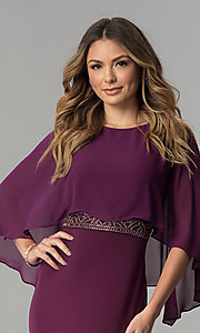 Image of long purple mother-of-the-bride dress with cape. Style: SG-SWiFBCJ Detail Image 1