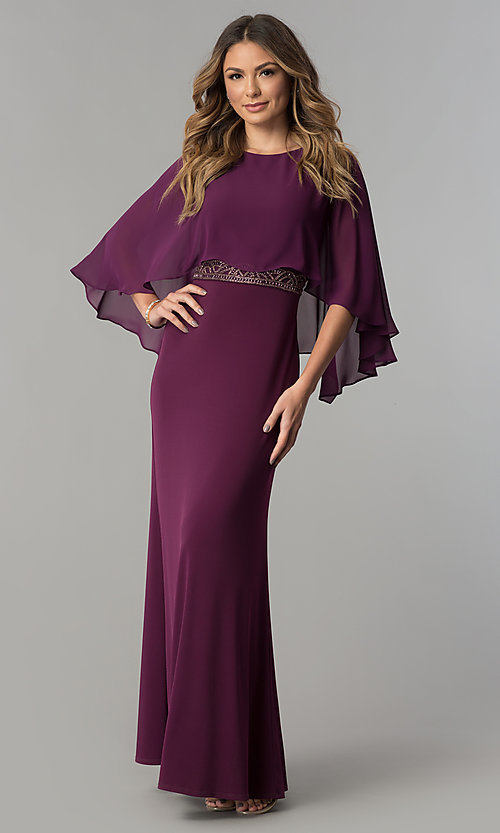 Image of long purple mother-of-the-bride dress with cape. Style: SG-SWiFBCJ Front Image