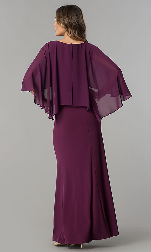 Image of long purple mother-of-the-bride dress with cape. Style: SG-SWiFBCJ Back Image
