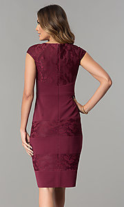 Image of wine red jersey and lace short wedding-guest dress. Style: SG-SBVT1529 Back Image