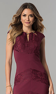 Image of wine red jersey and lace short wedding-guest dress. Style: SG-SBVT1529 Detail Image 1