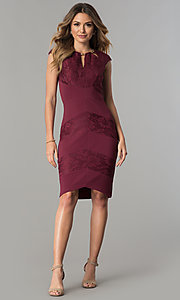 Image of wine red jersey and lace short wedding-guest dress. Style: SG-SBVT1529 Detail Image 2