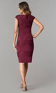 Image of wine red jersey and lace short wedding-guest dress. Style: SG-SBVT1529 Detail Image 3