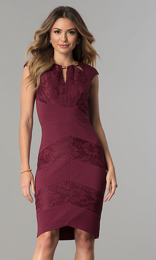 Image of wine red jersey and lace short wedding-guest dress. Style: SG-SBVT1529 Front Image