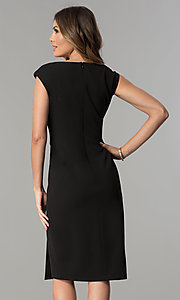 Image of knee-length black v-neck sheath party dress. Style: SG-SBBY1335 Back Image