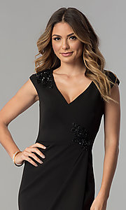 Image of knee-length black v-neck sheath party dress. Style: SG-SBBY1335 Detail Image 1