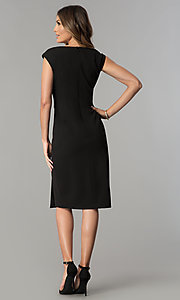 Image of knee-length black v-neck sheath party dress. Style: SG-SBBY1335 Detail Image 3