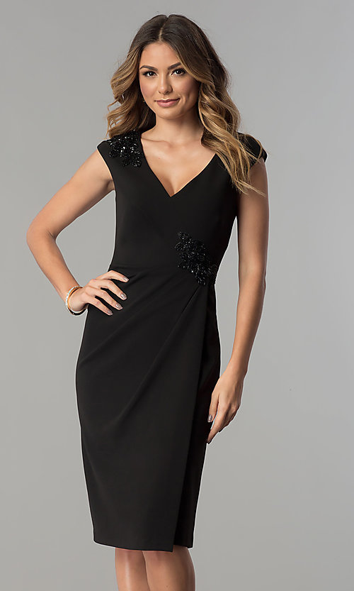 Image of knee-length black v-neck sheath party dress. Style: SG-SBBY1335 Front Image