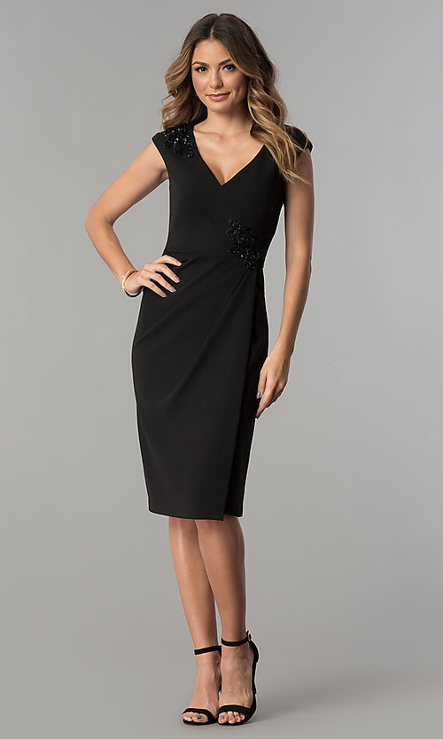 Image of knee-length black v-neck sheath party dress. Style: SG-SBBY1335 Detail Image 2