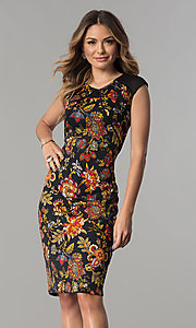 Knee-Length Print Career Dress