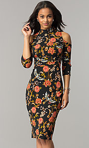 Cold-Shoulder Black Sheath Party Dress with Print