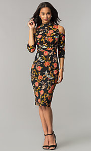 Image of cold-shoulder black sheath party dress with print. Style: SG-SBSD1294 Detail Image 1