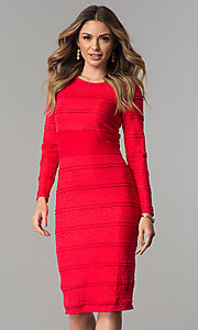 Image of long-sleeve short midi day-to-night career dress. Style: SG-SBSL1326 Detail Image 2