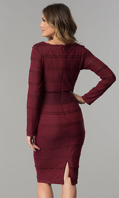 Image of long-sleeve short midi day-to-night career dress. Style: SG-SBSL1326 Back Image