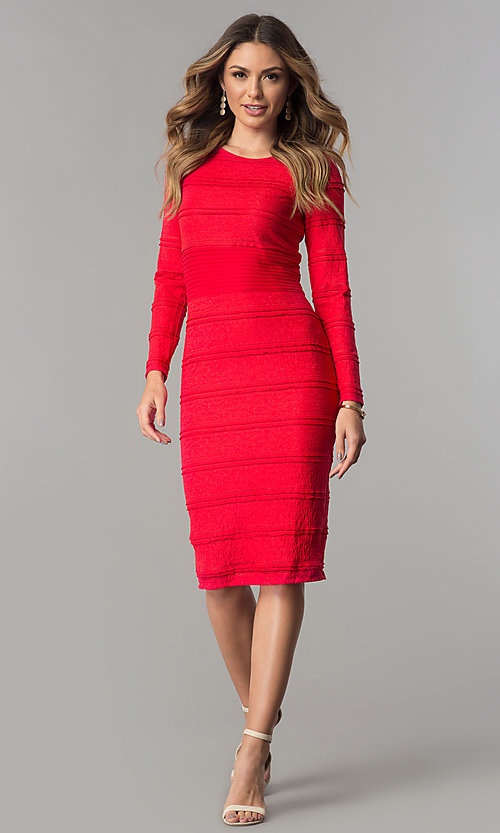 Image of long-sleeve short midi day-to-night career dress. Style: SG-SBSL1326 Detail Image 3