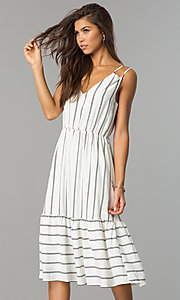 Midi Striped Chiffon Casual Dress with V-Neckline
