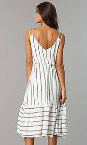 Image of midi striped chiffon casual dress with v-neckline. Style: JTM-JD7871 Back Image