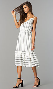 Image of midi striped chiffon casual dress with v-neckline. Style: JTM-JD7871 Detail Image 1