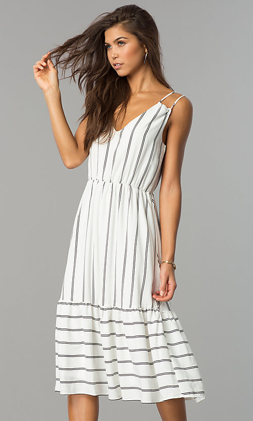 Image of midi striped chiffon casual dress with v-neckline. Style: JTM-JD7871 Front Image