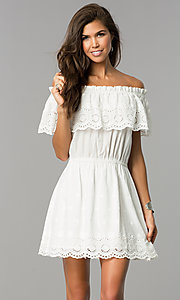 Off-the-Shoulder Wide Ruffle Graduation Dress