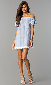 Image of off-the-shoulder casual shift dress with petal sleeves. Style: VE-885-211181 Detail Image 1