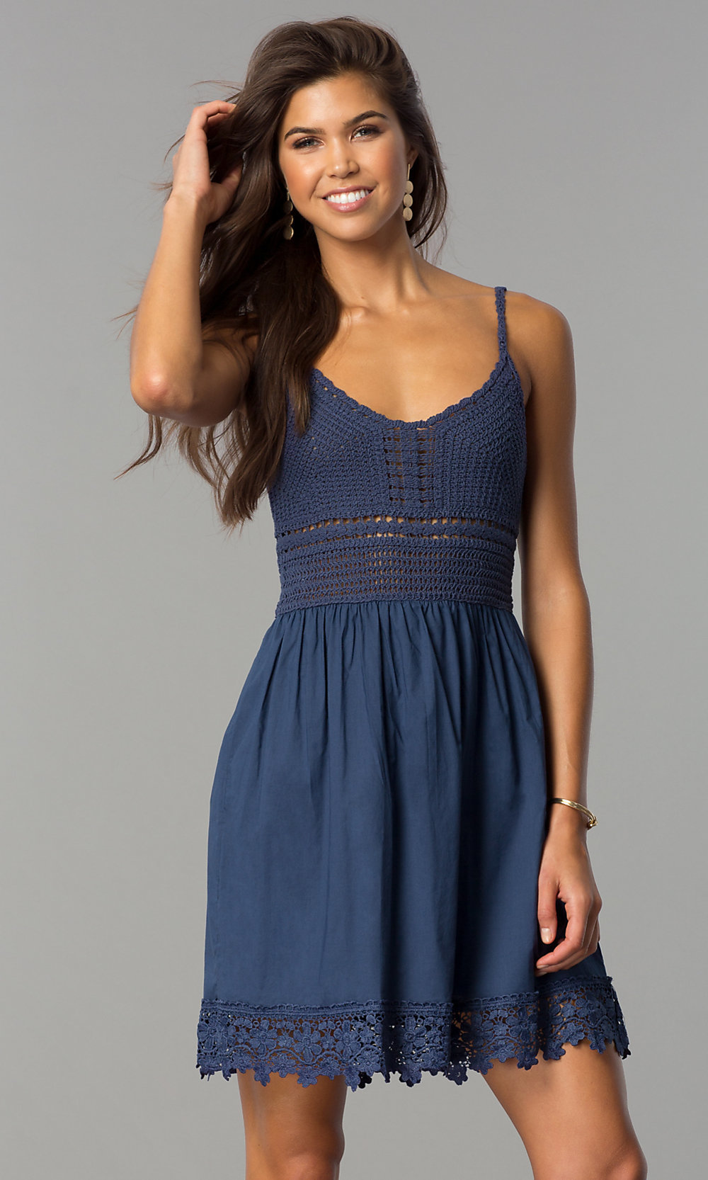 short casual dress with crocheted bodice  promgirl