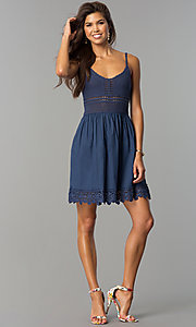 Image of short casual party dress with crocheted bodice. Style: VE-008-211453 Detail Image 1