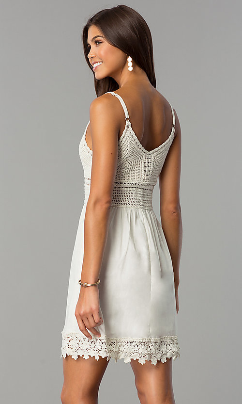 Image of short casual party dress with crocheted bodice. Style: VE-008-211453 Back Image