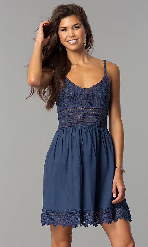 Image of short casual party dress with crocheted bodice. Style: VE-008-211453 Front Image