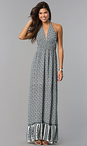 Long Print Casual Maxi Halter Dress