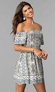 Short Off-Shoulder Casual Print Dress with Smocking