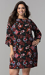 Short Floral Print 3/4 Sleeve Shift Party Dress