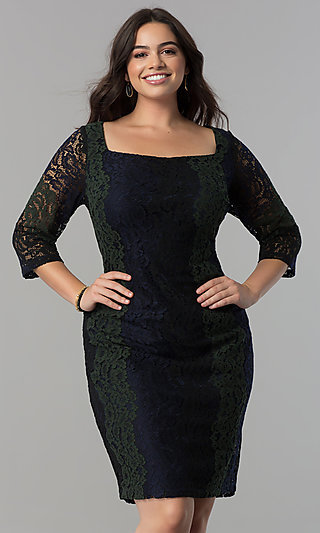 Knee Length Party Dress with Square Neckline