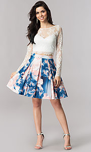 Image of short two-piece homecoming dress with lace sleeves. Style: DMO-J317237 Detail Image 2