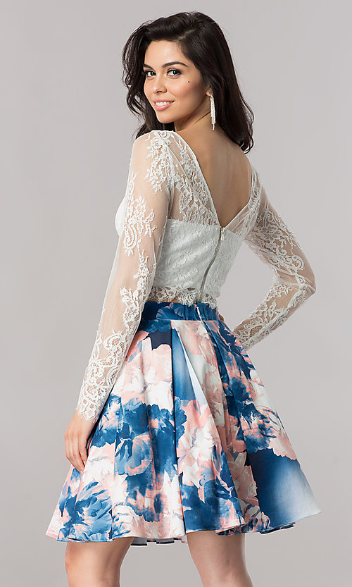Image of short two-piece homecoming dress with lace sleeves. Style: DMO-J317237 Back Image