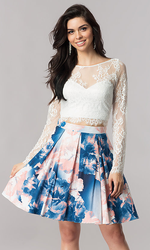 Image of short two-piece homecoming dress with lace sleeves. Style: DMO-J317237 Front Image