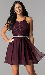 Image of sequin chiffon lace-bodice short homecoming dress. Style: DMO-J318097 Front Image