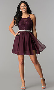 Image of sequin chiffon lace-bodice short homecoming dress. Style: DMO-J318097 Detail Image 3