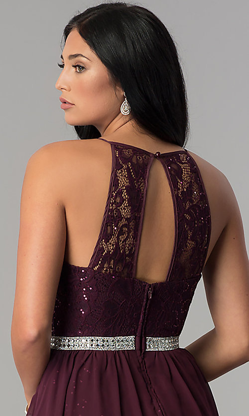 Image of sequin chiffon lace-bodice short homecoming dress. Style: DMO-J318097 Detail Image 2